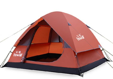 Hewolf 4 Person Family Camping Tent Double Layer Waterproof Instant Cabin Tent With Rainfly for Outdoor